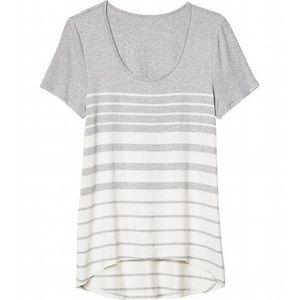 Athleta Striper Tee High Low Gray Striped T-shirt